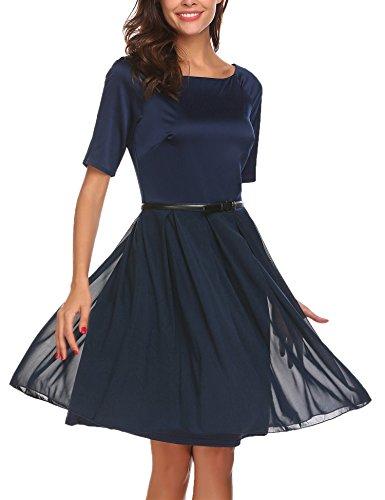 ... ACEVOG Damen 50s Vintage Kleid Elegant Knielang Tülle Cocktailkleid  Schwingen Abendkleid Partyleider Rockabilly Kleid Navy Blau ... 8ffdc093cd