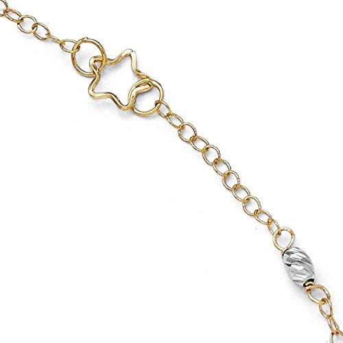 Or bicolore 14carats poli et Mabelle Bracelet de cheville avec 2,5cm ext-25cm