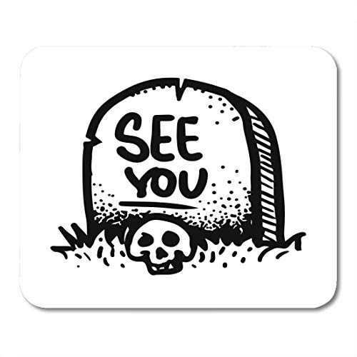 Emvency Mouse Pads Etched Engraved Sticker Dark Humor Jokes Contemporary Street Work Sketch of The Skull and Gravestone Mouse Pad 9.5