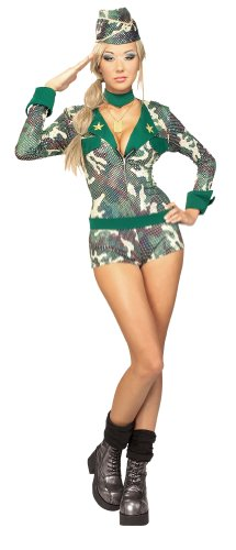 Secret Wishes  Costume Army Girl Women's Costume, Multi, Small (Military Halloween Costumes For Womens)