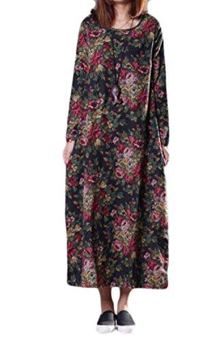 Taille Plus Confortables Femmes De Style Chinois De Lin Imprimé Pullover Une Robe De Ligne Pattern3