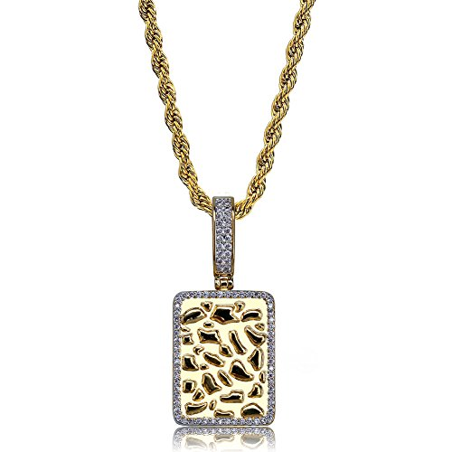- TOPGRILLZ 14K Gold and Silver Plated Iced Out CZ Lab Cluster Diamond Big Rock Solitaires Dog Tag Pendant Necklace Chain for Men Hip Hop (Gold Nugget Square)