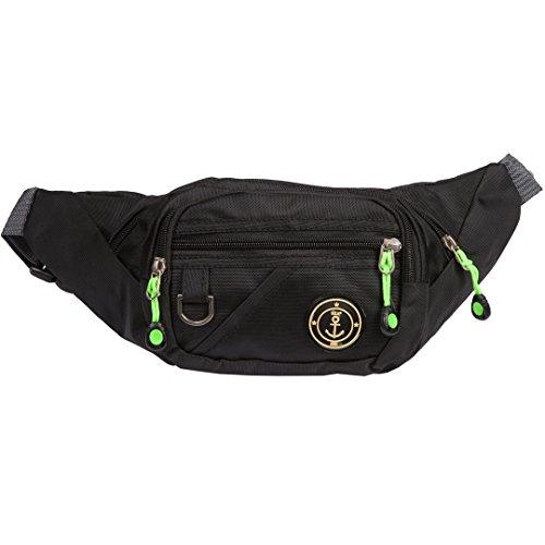Bauchtasche | Gürteltasche | Große Hüfttasche für Kinder, Damen oder Herren | Outdoor & Festival Brustbeutel aus Nylon | einfarbig | 5 verschiedene Farben (Schwarz)