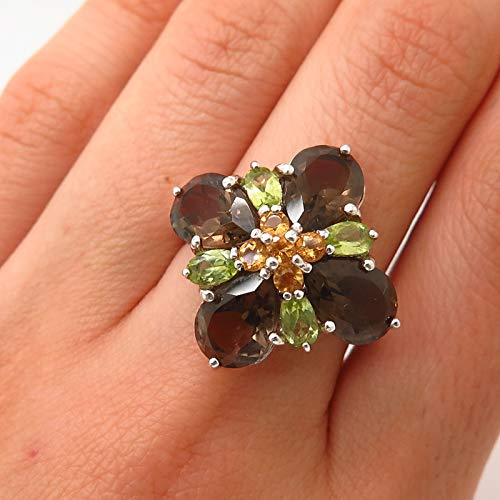 925 Sterling Smoky Quartz & Citrine & Peridot Gem Cross Design Ring Size 8 Jewelry by Wholesale Charms
