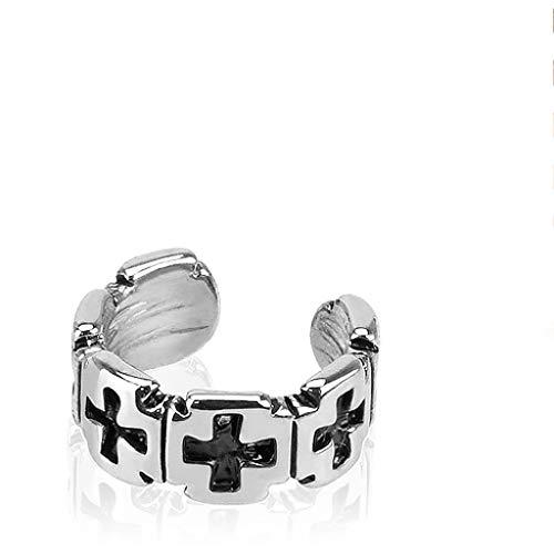 Gauge Surgical Steel Iron Cross - Amelia Fashion Non-Piercing Iron Cross Ear Cuff Rhodium Plated Brass (Steel Iron Cross)