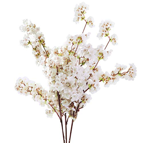 (Sunm boutique Silk Cherry Blossom Branches, Artificial Cherry Blossom Tree Stems Faux Cherry Flowers Vase Arrangements for Wedding Home Decor, Set of 3)
