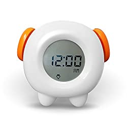 Toddler Stay-In-Bed Light Clock, Teaches Child When Its Fine To Wake Up - Kids Alarm and 4 Color Morning Or Night-light. Battery or usb
