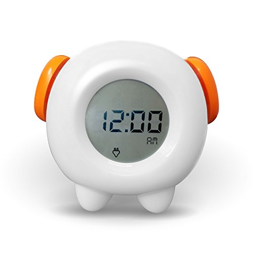Stay-in-Bed Light Alarm Clock for Kids. Teaches Child When Fine to Wake Up - Plus Night-Light. Battery or USB New & Revised 2018 Edition