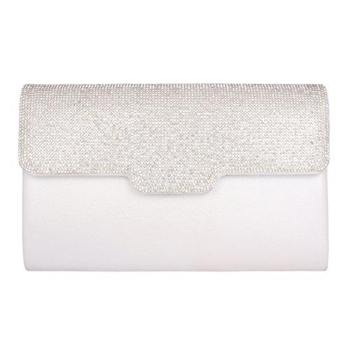 Revers met wit Elegant Embellishment Clutch Feestje LadyWedding Bag Adoptfade wit Schoudertas Diamond XYFqwxT