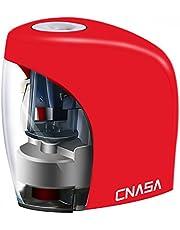 Sacapuntas Electrico, CNASA Sacapuntas Automatico con Deposito y Hoja Helicoidal para Niños, Adaptador Incluido, Negro