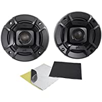 (2) Polk Audio DB402 4 270 Watt Car Audio ATV/Motorcycle/Boat Speakers+Rockmat