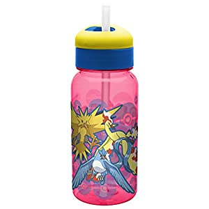 Zak Designs Zak! Designs Pokemon Reusable Water Bottle with Flip Out Silicone Straw, BPA-free & Break Resistant, 14 oz., Decorated