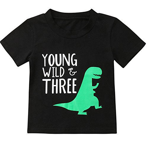 Toddler Kid Baby Boys Girls Yound Wild Three Dinosaur 3rd Birthday Tshirt Outfits (Black, 3-4 Year)