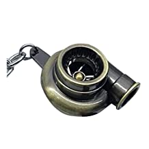 Turbocharger keychain - SODIAL(R) Sleeve Bearing Spinning Golden Auto Parts Models Turbine Turbocharger Turbo Keychain Key Chain Ring Keyfob Keyring Bronze