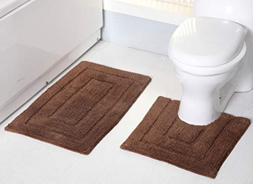 RT Designers Collection Avani 2 Piece Cotton Bath Mat Set, 20 x 32 in. Bath Mat / 20 x 20 Contour Rug in Mocha, Two Piece