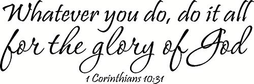 MOMIKA 1 Corinthians 10:31 Wall Art, Whatever You Do, Do It All for The Glory of God Inspirational Bible Quote Decal Vinyl Decor Art Sticker