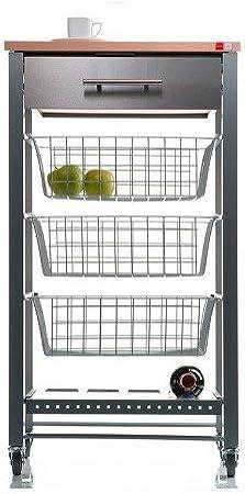 Verdulero de cocina APRIL.3 cestas, 1 cajón, tablero de haya, ruedas giratorias (ruedas delanteras c