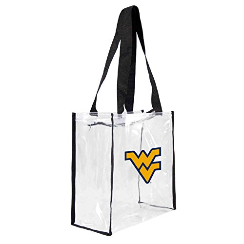 NCAA West Virginia Mountaineers Square Stadium Tote, 11.5 x 5.5 x 11.5-Inch, Clear West Virginia Tote