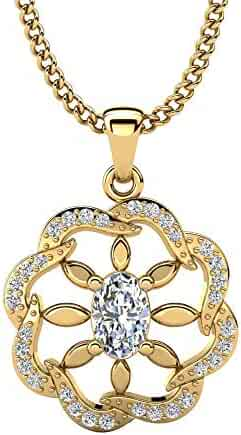 Dividiamonds 0.34 Carat Princess Shape Sim White Diamonds Halo Pendant W//18 Chain in 14K Gold Plated 925