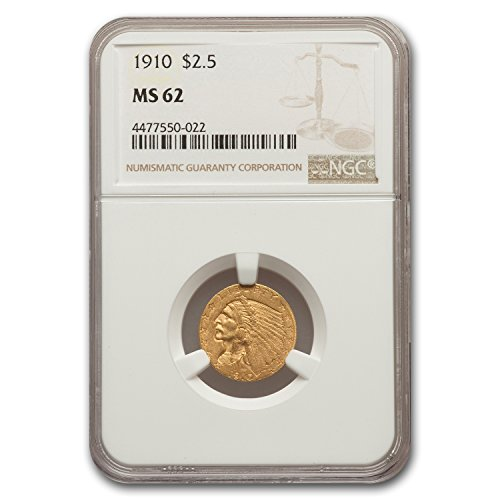 1910 $2.50 Indian Gold Quarter Eagle MS-62 NGC $2.50 MS-62 NGC