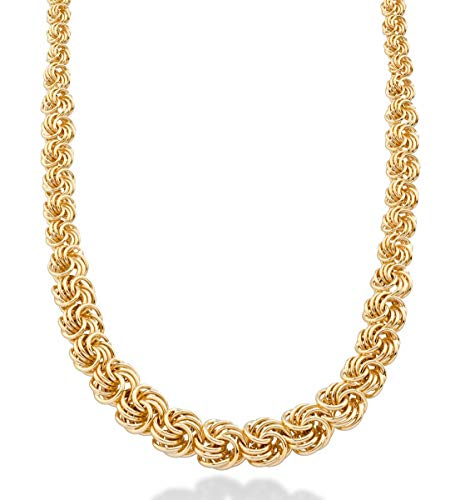 Love Link Chain - MiaBella Italian 18K Gold Over Sterling Silver Graduated Love Knot Rosette Link Chain Necklace 18