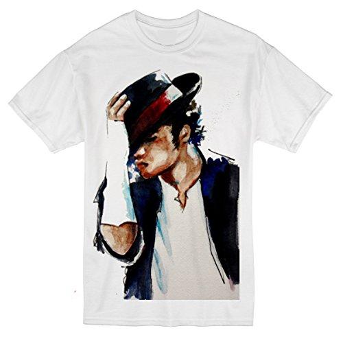 Palalula Womens King of Pop Michael Jackson T-Shirt M190 Tribute T-Shirt XXL White