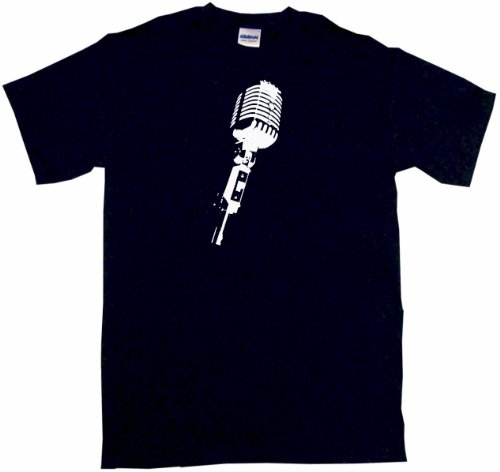 Stage Microphone Silhouette Men's Tee Shirt XL-Black