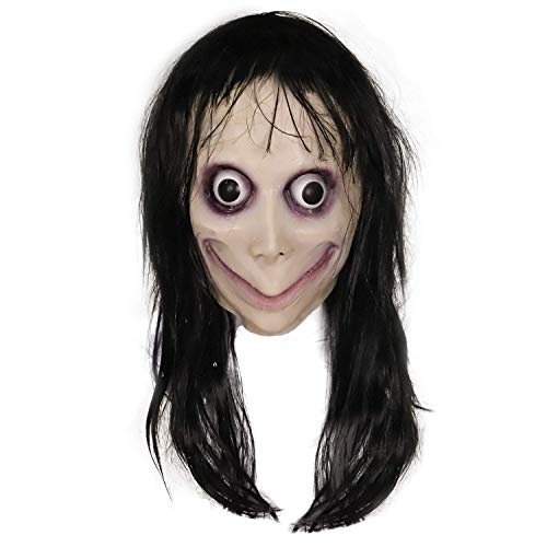 Creepy Momo Mask, Scary Momo Challenge Games Evil Latex Mask with Long Hair, Halloween Costume Party Props Black