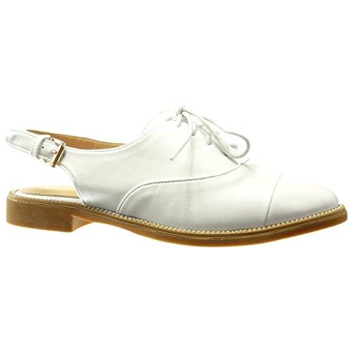 Angkorly - Zapatillas de Moda Zapato acento Sandalias abierto mujer Hebilla acabado costura pespunte Talón Tacón ancho 2 CM - Blanco