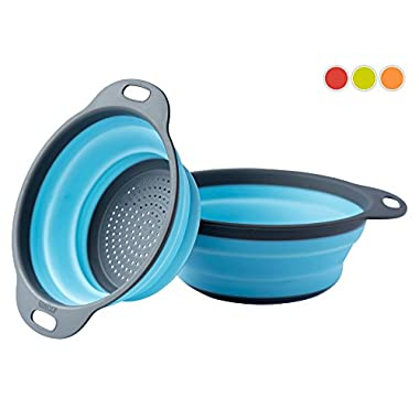 [Set of 2] Collapsible Silicone Kitchen Strainer (Colander) Set By Comfify - Includes Two Silicone Strainer Sizes: 8' and 9.5' - Blue and Gray