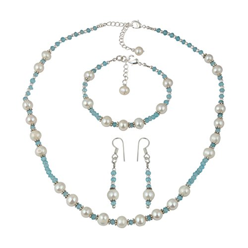 Apatite White Cultured Freshwater Pearl Necklace Earrings Bracelet Fashion Jewelry Set for Women (Set Necklace Apatite)