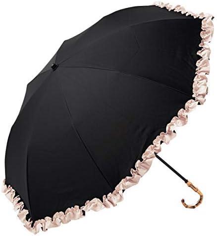 100%完全遮光 99%ではダメなんです! 【Rose Blanc】晴雨兼用 日傘 フリル(傘袋付) 2段 折りたたみ 50cm 手元バンブー(竹)