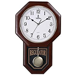 Pendulum Wall Clock Battery Operated - Quartz Wood Pendulum Clock - Silent, Wooden Schoolhouse Regulator Design, Decorative Wall Clock Pendulum, for Living Room, Kitchen & Home Décor, 18 x 11.25