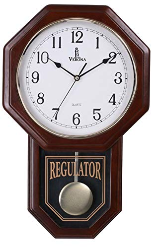 (Pendulum Wall Clock, Silent Decorative Wood Clock with Swinging Pendulum, Battery Operated, Schoolhouse Regulator Wooden Design, for Living Room, Bathroom, Kitchen & Home Décor, 18