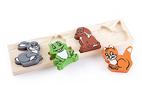Waldorf Four Light - Wooden Puzzle for toddlers Funny Animals Sorting Educational Toy Puzzel