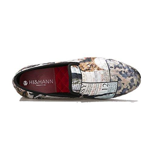Hi & Hann Magazine-style Graffiti Mens Mocassino Scarpe Slip-on Mocassino Pantofole Rotonde Che Fumano Le Dita Dei Piedi
