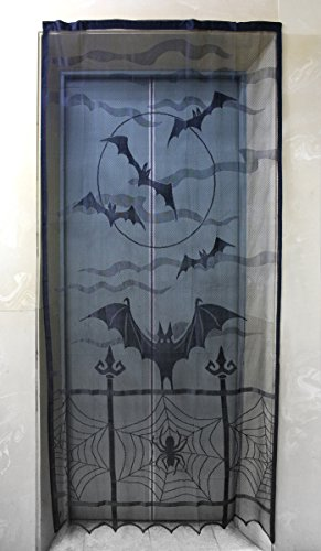 Lace Decor Window Panel (Halloween Haunted House Horror Decoration Translucent Bat and Spider Design Polyester Lace Window Curtain - Black)