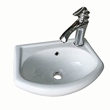 Image of Home Improvements Bathroom Sink Wall Mount White China Small Space Saving Sink