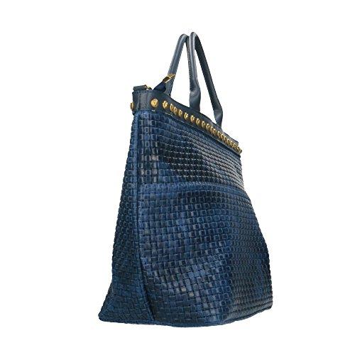 imprimé Sac 53x34x20 Chicca en en tressé à in Cm Borse avec Bleu cuir Made véritable main Italy bandoulière cuir qqIgr
