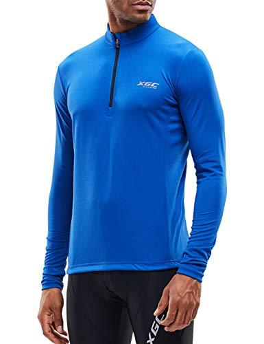 XGC Men's Short/Long Sleeve Cycling Jersey Bike Jerseys Cycle Biking Shirt with Quick Dry Breathable Fabric (Blue/Long, ()