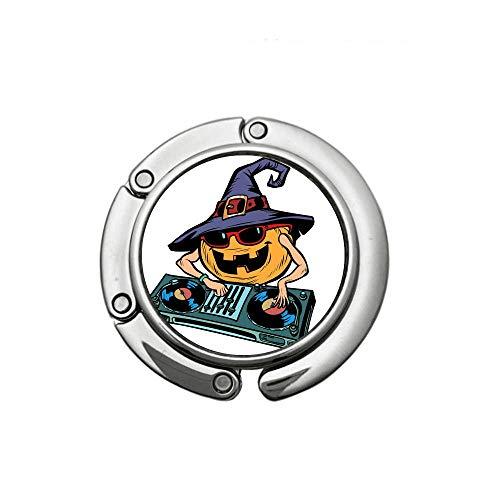 Halloween Handbag Hanger Holder Women Round Foldable Purse Hook DJ Pumpkin