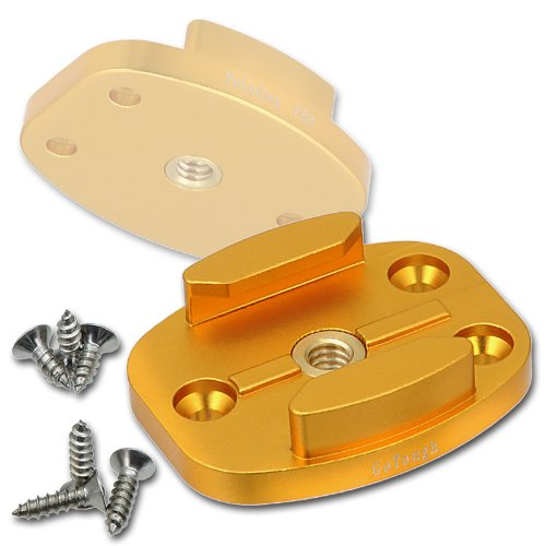 Fotodiox GoTough QR Gold Metal Mount and Screw Holes for GoPro Hero2, Hero3, Hero3+ and Hero4 Cameras with Quick Release Buckle Clips