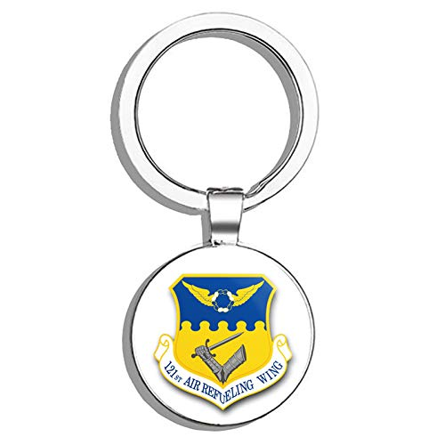 HJ Media US Air Force 121st Air Refueling Wing Military Veteran USA Pride Served Metal Round Metal Key Chain Keychain Key Ring