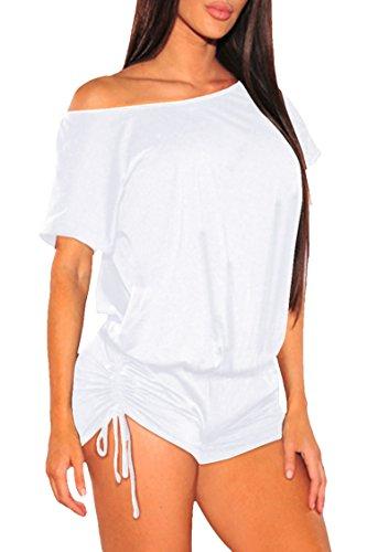 White Romper Set - Fixmatti Women Off Shoulder Short Sleeve Ruched Beach Romper Pant Set White XL