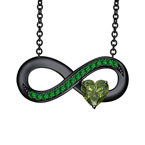 SVC-JEWELS Lovely Heart Shaped Green Tourmaline & Emerald Infinity Pendant Necklace 14K Black Gold Plated