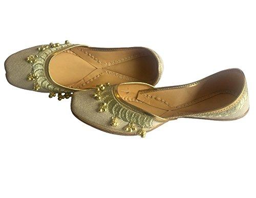 ... Jaipuri Flach Schuhe Ghungroo Jutti Panjabi Khussa N Schritt Creme  Damen Flip Ethnic Mojari Style Cremefarben ...