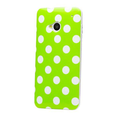 HTC One M7 | iCues lunares TPU rosa / de color | Señoras de las mujeres de las muchachas de gel de silicona adorno del modelo de piel protectora de protección [protector de pantalla, incluyendo] Cubie Verde