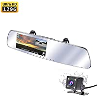 Dash Cam, Doris-us 1296P Super HD Dual Lens Car Camera, Car Video Recorder with 5 IPS Screen Rearview Mirror Dashcam for Reverse Parking System,Parking Protection Mode (without SD card)