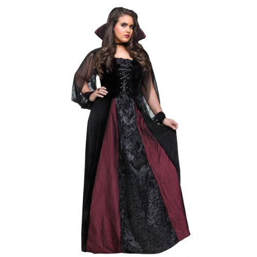 Fun World Women's Goth Maiden Vamp Plus Size, Black 16W - 24W -