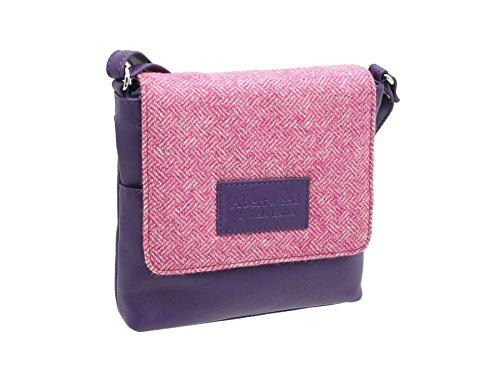Mala Leather, Sac bandoulière pour femme, Noir (Noir) - 7106_40 Rose Bonbon